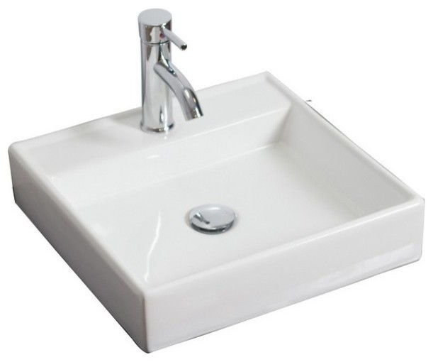 Wall Mount Square Vessel, White For Single Hole Faucet, 17.5x17.5.