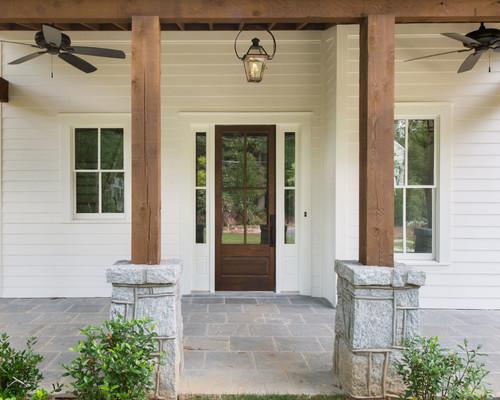 & Stained cedar posts/beams u0026 door?