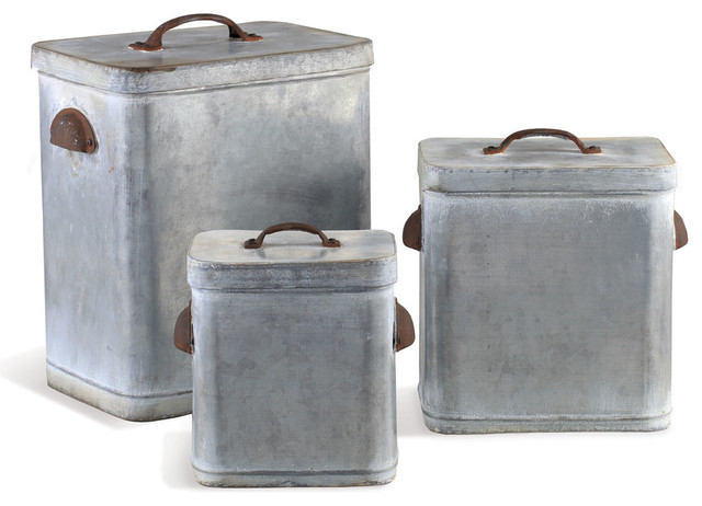 Lidded Canisters Antique Gray Set Of 3 Farmhouse Kitchen And Jars By Napa Home Garden