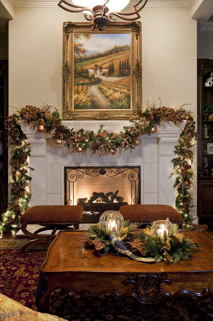 Traditional Christmas Living and Dining Room traditional