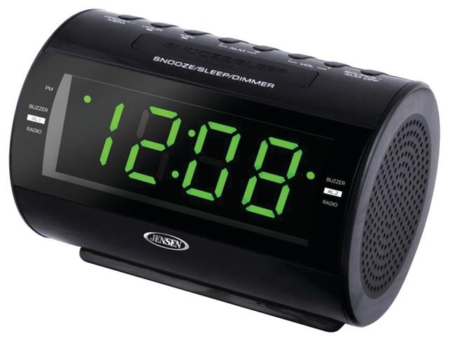 jensen am fm dual alarm clock radio contemporary alarm. Black Bedroom Furniture Sets. Home Design Ideas