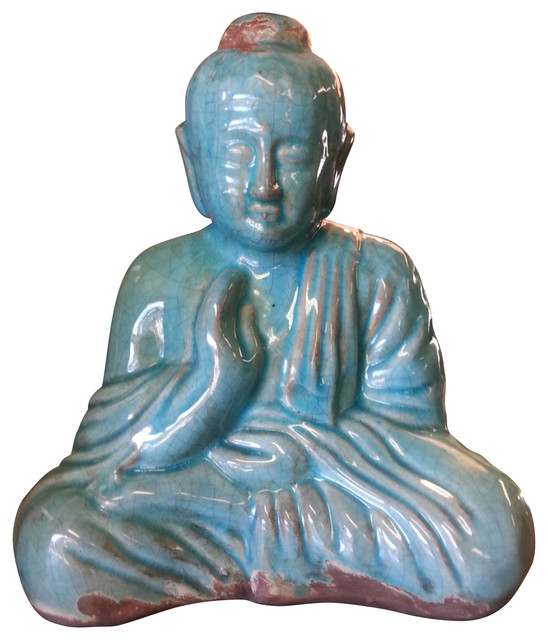 Sitting Buddha Statue Turquoise Blue Finish Asian Decorative Objects And Figurines