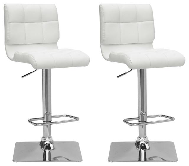 Corliving Dpu-903-B Adjustable Barstool, Set Of 2, White.