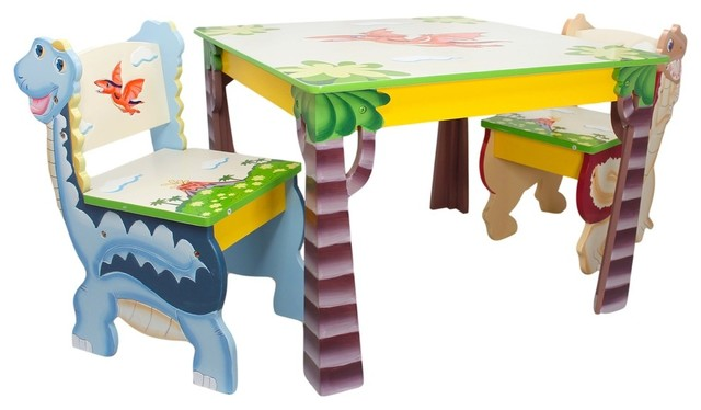 Dinosaur Kingdom Table Set With 2 Chairs - Tropical - Kids Tables ...