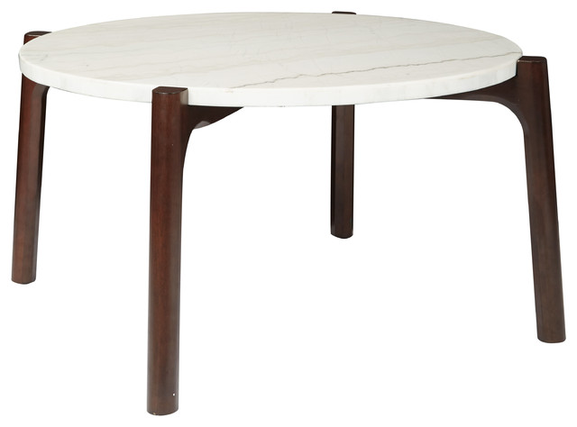 Coffee Table With White Marble Top And Cherry Legs Midcentury Coffee Tables By Office Star Products