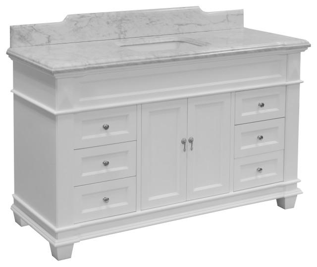 """Elizabeth 60"""" Bathroom Vanity, Base: White, Top: Carrara Marble, Single Vanity"""