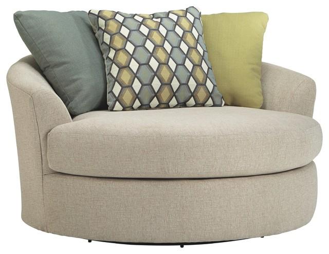 Outstanding Ashley Oversized Swivel Accent Chair Linen Short Links Chair Design For Home Short Linksinfo
