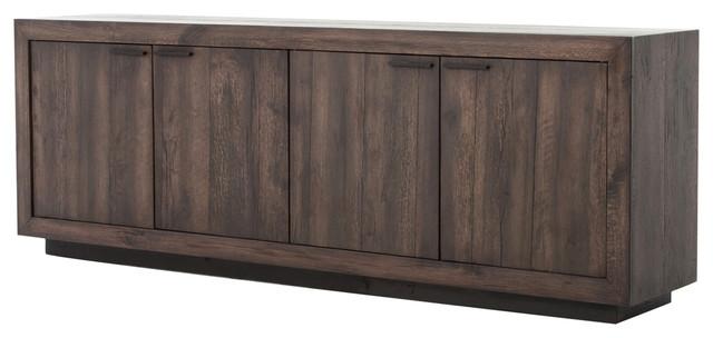 Glen Rustic Lodge Reclaimed Smoked Oak 4 Door Cabinet
