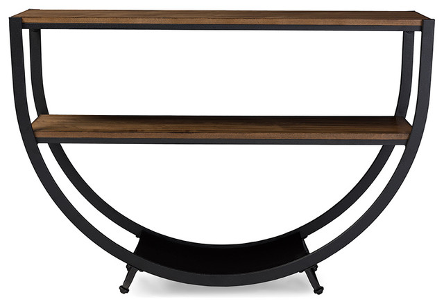 Blakes Textured Metal And Distressed Wood Console Table, Black And Brown  Industrial Console