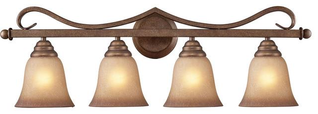 Elk 9322//3 3-Light Vanity in Mocha and Antique Amber Glass