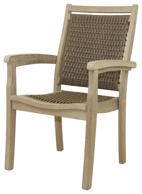 Gray Wash Eucalyptus And Driftwood Gray Wicker Stacking Dining Chair Tropical Outdoor Dining Chairs By Outdoor Interiors Houzz