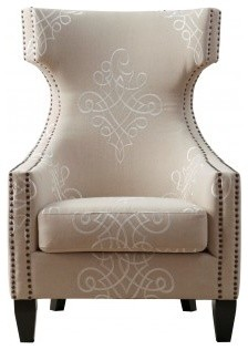 Gramercy Embroidered Linen Wing Chair - Contemporary - Armchairs And Accent Chairs - by Coleman ...