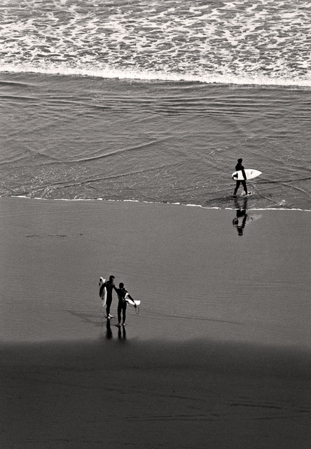 Surfing art raglan beach new zealand fine art black white photography 12x18