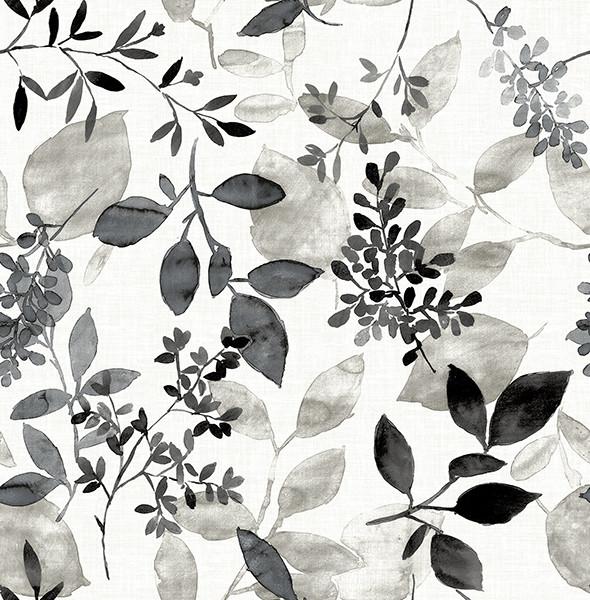 Monochromatic Watercolor Floral Wallpaper Black Gray Bolt
