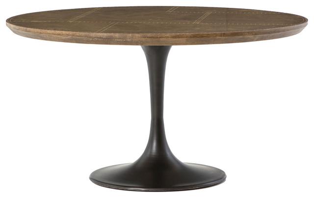 Aero Tulip Br Clad Top Round Dining Table 55