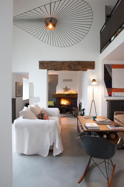 double salon d 39 une ferme r nov e industriel lyon par marque de fabrik. Black Bedroom Furniture Sets. Home Design Ideas