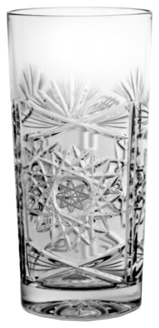 Decorative Lead Crystal Highball Glasses, Set of 6
