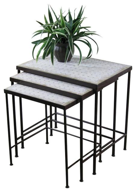Piece set nesting tables travertine tops contemporary