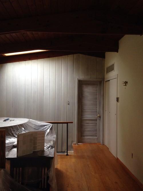 Painted wood paneling - mid century modern house