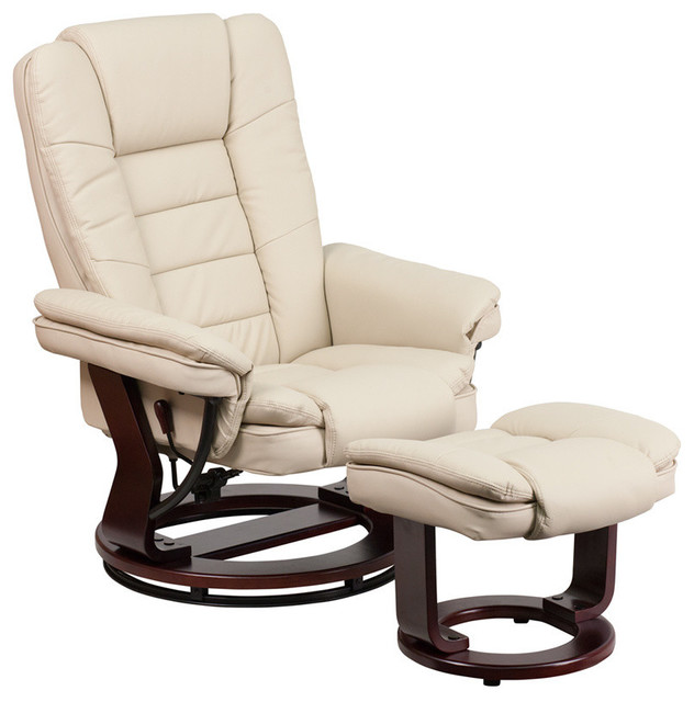 Leather Recliner And Ottoman With Swiveling Mahogany Wood Base, Beige.