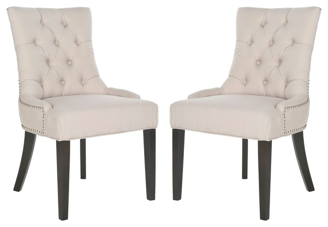 Harlow Tufted Ring Chair, Set Of 2, Taupe Transitional Dining Chairs
