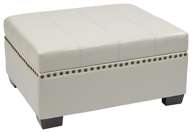 Office Star Avenue Six Detour Storage Ottoman with Tray in Cream Eco  Leather traditional-footstools - Office Star Avenue Six Detour Storage Ottoman With Tray