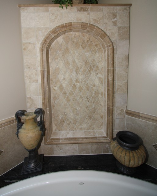 Tiled Wall Niche Contemporary Bathroom Cleveland