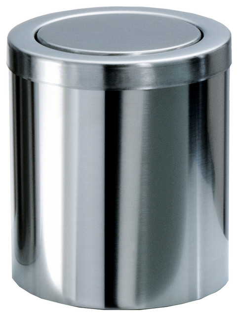Round Extra Small Coutertop Wastebasket With Swing Lid Chrome Contemporary Wastebaskets