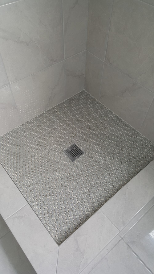 This Penny Tile Install Looks Askew To Me I Find My Eye Is Drawn In A Square Type Pattern How It Supposed Look Or Something Wrong