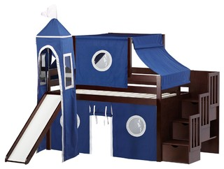 Jackpot Castle Twin Low Loft Cherry Stairway Bed, Blue and White Tent With Slide