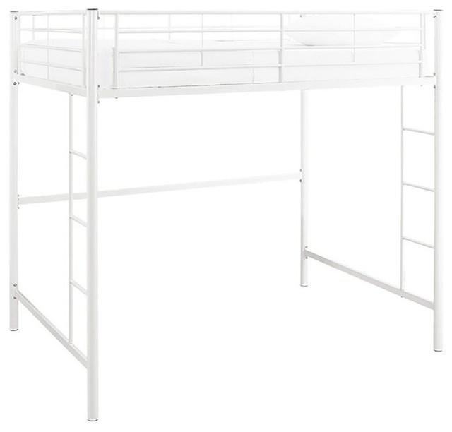 Walker Edison Premium Metal Full Loft Bed, White.