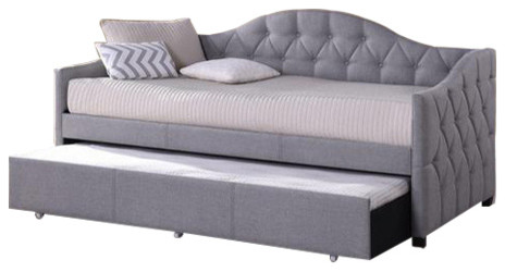 102508/120509 Jamie Daybed, Gray Fabric, With Trundle.
