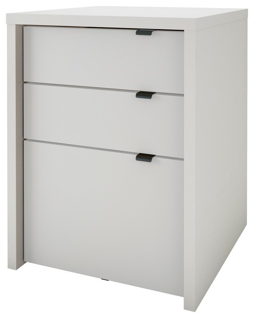 Chrono 3-Drawer Filing Cabinet, White - Contemporary - Filing Cabinets - by Nexera