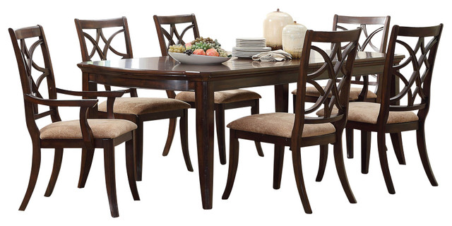 Keegan 7 Piece Dining Room Set, Brown Cherry Traditional Dining Sets