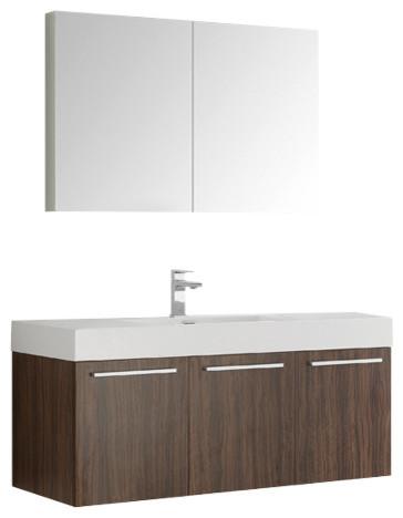 Vista 48 Walnut Wall Hung Bathroom Vanity Set, Fortore Chrome Faucet.