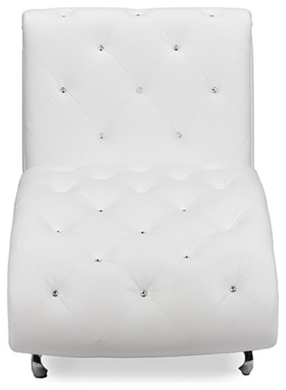 Pease Faux Leather Upholstered Crystal Chaise Lounge, White by Baxton Studio