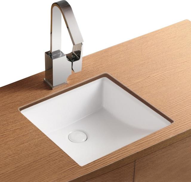 Square White Ceramic Undermount Bathroom Sink ...