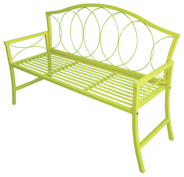 Patio Bench Lime Green Traditional Outdoor Benches