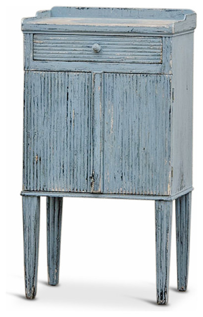 Peitro French Country Weathered Antique Blue Wood Nightstand