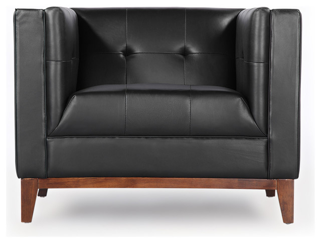 Harrison Midcentury Modern Premium Aniline Leather Loft Club Chair, Black