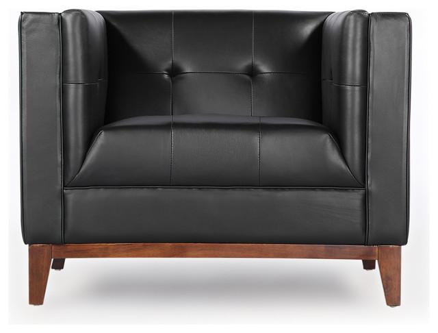 Wonderful Harrison Midcentury Modern Premium Aniline Leather Loft Club Chair, Black  Midcentury Armchairs And