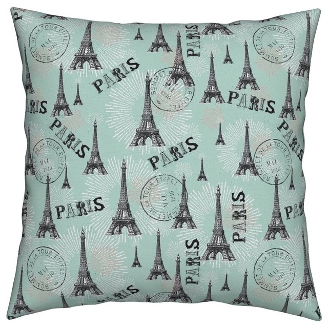 Paris Is Always A Good Idea Teal Paris Throw Pillow Contemporary