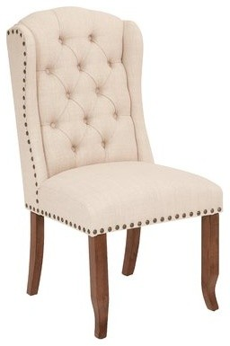 Jessica Tufted Wing Chair With Bronze Nailheads And Coffee
