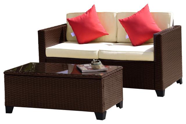 Pleasing Delfina 2 Piece Outdoor Wicker Loveseat Sofa Set Brown Pdpeps Interior Chair Design Pdpepsorg