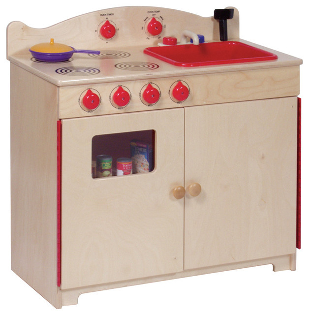 Modern Wooden Play Kitchen steffywood kids pretend play room wooden 2-in-1 kitchen center