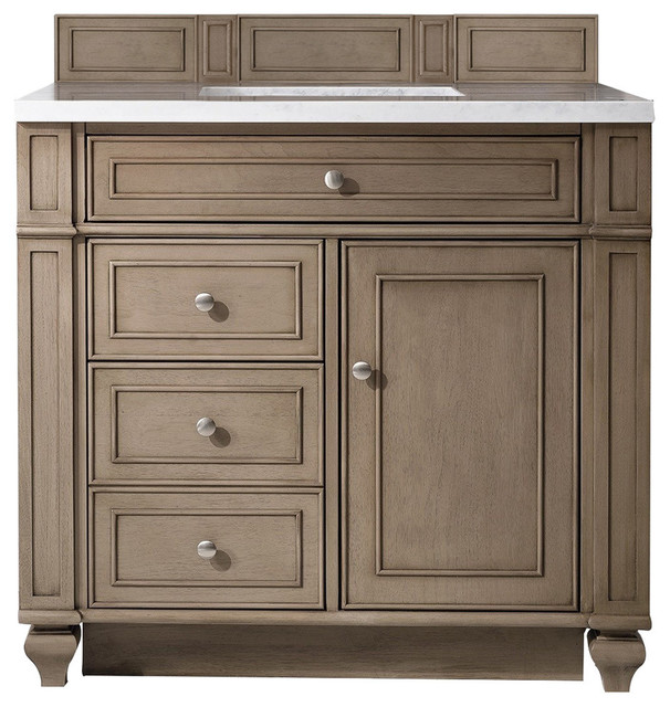 """Bristol 36"""" Single Vanity, White Washed Walnut 3cm Arctic Fall Solid Surface Top."""