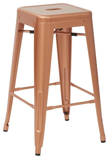 Bristow 26 Antique Metal Barstool Set Of 4 Copper