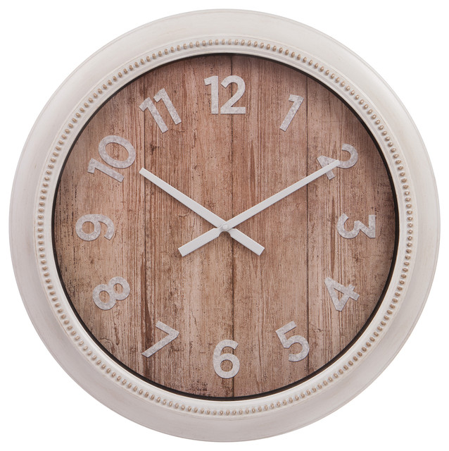 22 Rustic Wall Clock In Distressed White