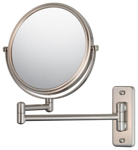 Amerigo Swing-Arm Wall Mirror, Brushed Nickel.
