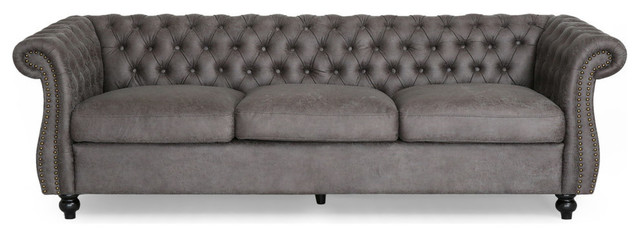 Gdf Studio Vita Chesterfield Microfiber Sofa With Scroll Arms Slate Dark Brown